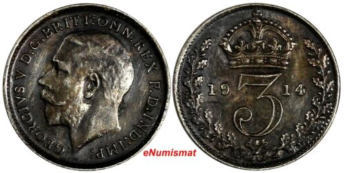 Great Britain George V Silver 1914 3 Pence Maundy Toning KM# 813