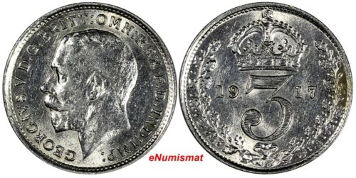 Great Britain George V Silver 1917 3 Pence Maundy KM# 813 (17 265)