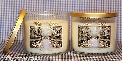 2 Bath & Body Works White Barn Leaves 3-wick 14.5 Oz Candle