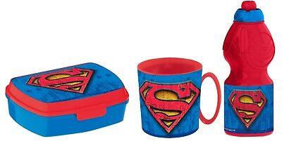 Superman Set Colazione,Box Portamerenda + Borraccia + Tazza,Scuola,Asilo,Bambini