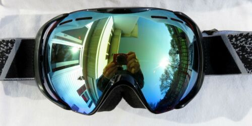 NEW $120 Bolle Mens Orbit Black Ski Goggles With RARE Silver Blue Mirror Lens