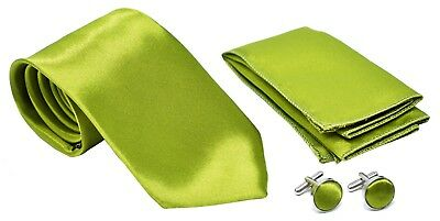 Kingsquare Solid Color Men's Tie, Pocket Square, and Cufflinks set (Apple Green)