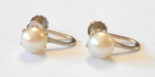 Pair of 14K White Gold 6 mm Cultured Pearl Solitaire Screwback Earrings Vintage