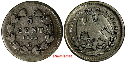 Mexico EMPIRE OF MAXIMILIAN Maximiliano I Silver 1864 G 5 Centavos RARE KM# 385