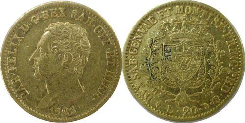1828 L Italian States Sardinia 20 Lire Gold Carlo Felice C# 106.1