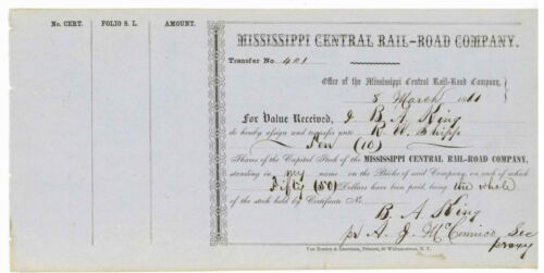 Mississippi Central Rail Road Company. Stock Transfer Certificate.