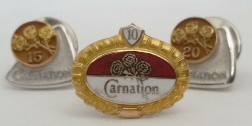 Vintage Set of 3 Solid 10K Gold CARNATION DAIRY Milk Employee Service Pins CTO