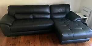 Leather chocolate brown 3 seater lounge with chaise West Gosford Gosford Area Preview