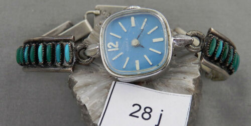 Vintage Zuni Petite Point Turquoise & Sterling Watch Bracelet, Very Unusual