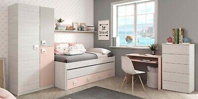 Pack muebles dormitorio habitacion juvenil color rosa cama nido con somieres