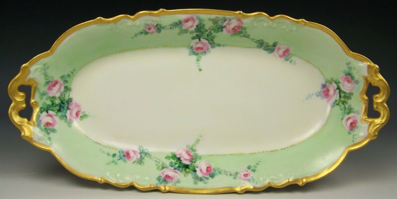 "LIMOGES HAND PAINTED ROSES GOLD GILT 13"" CELERY TRAY DISH"