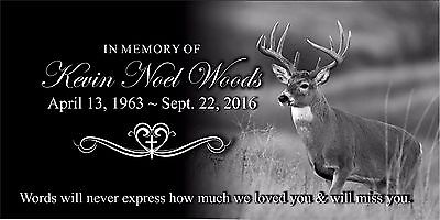 """Personalized human Stone Memorial Plaque 6"""" x 12"""" Headstone Deer Hunting marker"""