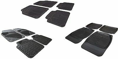 XA Universal Non slip Rubber Carpet Deep Waterproof Floor Car Mats Black 4pc