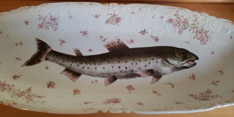 "Antique Victorian Carlsbad Austria Oblong Fish Platter ~25"" ~ Dates to 1890"