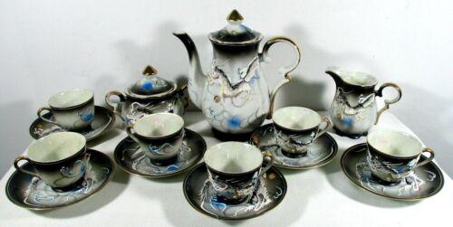 Japan Moriage Dragonware  17 Piece Tea Set Black Gold Trim Mother of Pearl