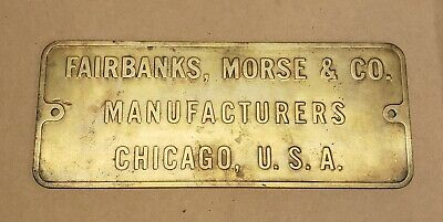 Vintage Fairbanks Morse Co. Wwii Brass Ship Or Submarine Engine Plaque - Large