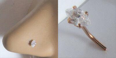 14k Rose Gold Plated Nose Stud Pin Ring L Shape Marquise Crystal Gem 20 gauge