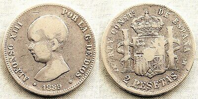 España-Alfonso XIII. 2 Pesetas. 1889**-89. Madrid. MBC-/VF-. plata 9,8 g. ESCASA segunda mano  Abuli