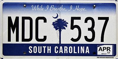 South Carolina   License Plate, Original Nummernschild USA  MDC 537 ORIGINALBILD