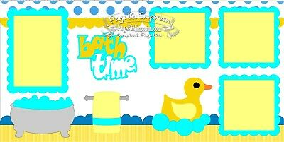 Scrapbook Page Kit Bath Time Child Baby Boy Girl Rubber Duck Paper Piecing 89 - Baby Boy Scrapbook Kit
