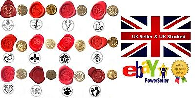 Wax Stamp Seal COINS ONLY 375 Design Choices. Optional Melt Handle avai too XWSC