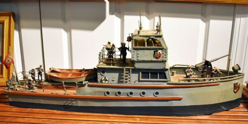 """Vintage Hand Crafted Wooden Boat, Fabulous German Patrol/Gun Boat.40"""" Great!"""