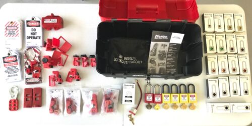Huge LOT (70+ PCs) Master Safety Series Lockout Tagout Kit w/case Most Are New