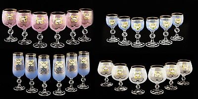 - Bohemian Crystal Colored Enameled Glasses Wine Champagne Brandy Liqueur Set of 6