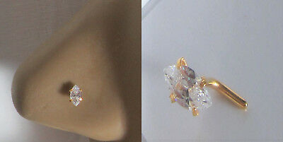 14k Yellow Gold Plated Nose Stud Pin Ring L Shape Marquise Crystal Gem 20 gauge