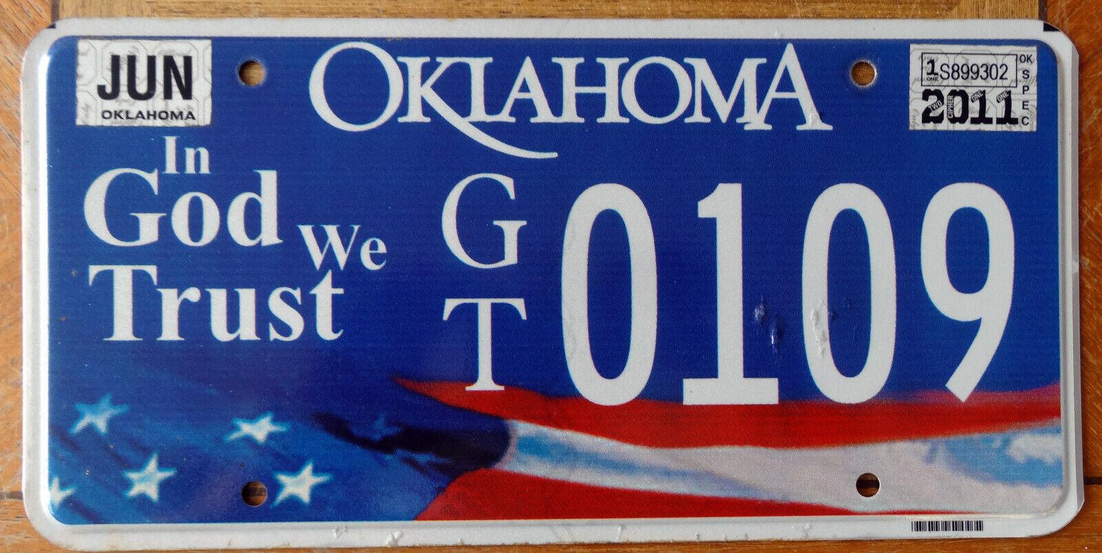 Nummernschild USA Kennzeichen OKLAHOMA IGWT In God We Trust GT 0109 sehr selten!