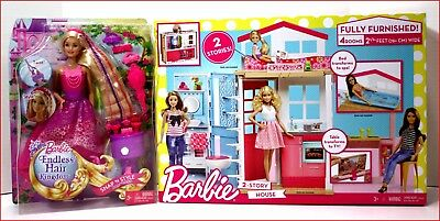LOT 2 - Barbie 4 Rooms 2 STORY HOUSE w/ Furniture 2 + Barbie Endless Hair Doll for sale  Shipping to Canada