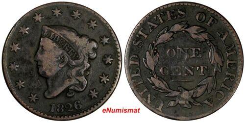 US Copper 1826 Coronet Head Large Cent 1C (13 702)