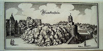 Blankenburg Harz Sachsen-Anhalt echter  Merian Kupferstich  Erstausgabe 1654