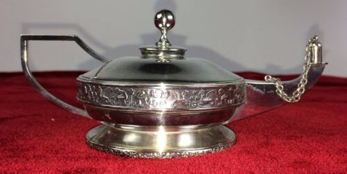 OIL LAMP. STERLING SILVER PUNCHED. SPAIN. CIRCA 1920
