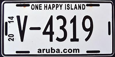 "ARUBA "" ONE HAPPY ISLAND "" 2014 License Plate"
