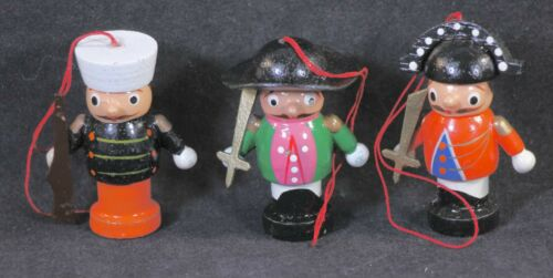Three (3) Vintage Midwest Importers Wooden 2 Inch Tall Soldier Ornaments
