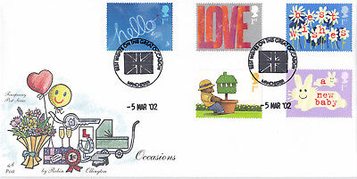 (17574) GB Fourpenny Post FDC Occasions Manchester Best Wishes 5 March 2002