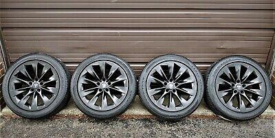"""4 Factory Tesla Model S 19"""" OEM Wheels & New Tires Slipstream Black Rims"""
