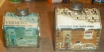 2 Vintage Maple Syrup 16.9 oz.and 8.45 oz. Log Cabin Tins Metal Can Log Cabin Maple Syrup