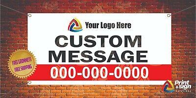 2 X 4 Custom Banner Message Logo Banner 13oz Full Color Free Design Shipping