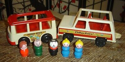VINTAGE FISHER PRICE LITTLE PEOPLE STATION WAGON AND MINI BUS 1970'S