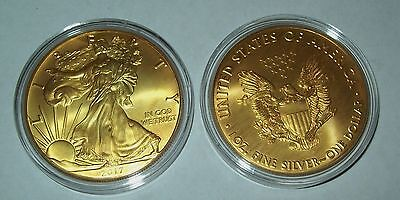2017 24K Gold Gilded American Silver Eagle 1 Troy Oz   999 Fine One Dollar Coin