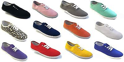 Girls Canvas Shoes - Womens Girls Canvas Plimsoll Shoes Sneakers lace Up Sizes 5-11 15 Colors