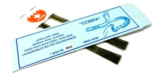 Jewelers Saw Blades # 8/0 COBRA SWISS Made Fine & Thin Blades for Jewelry 1Gross