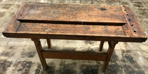 Antique Vintage Wood Industrial Carpenters Workbench Table Kitchen Island