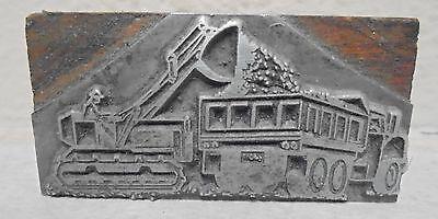 Vintage Letterpress Printing Block Dump Truck Loader Construction