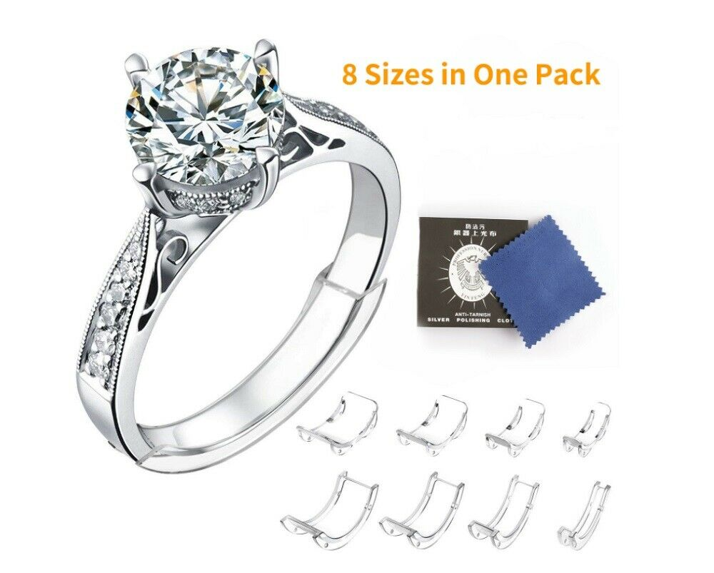 8 Pcs Ring Size Adjuster Invisible Clear Ring Sizer Jewelry Fit Reducer Guard US Jewelry & Watches