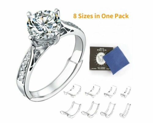 8 Pcs Ring Size Adjuster Invisible Clear Ring Sizer Jewelry Fit Reducer Guard US