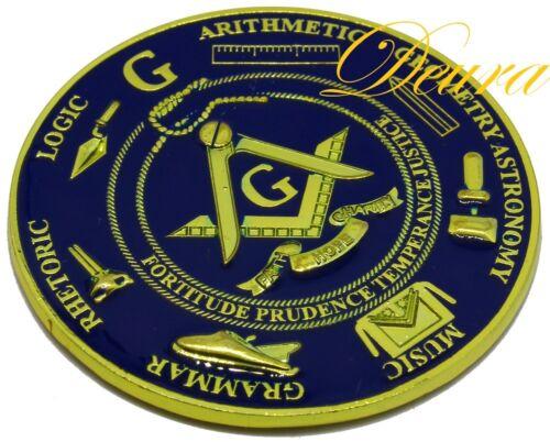 Freemason Masonic Love For Arts Car Emblem Heavy Zinc Alloy GOLD // BLUE Finish