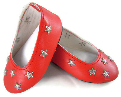 Red Star Ballet Flats Shoes fits 18 inch American Girl Doll Clothes Accessories (Red Star Shoes)